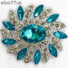NEW LARGE SILVER FLOWER BROOCH BLUE DIAMANTE RHINESTONE CRYSTAL PIN BROACH GIFT