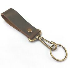leather belt clip  key fob brown distressed leather with antiqued clip & ring