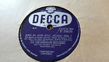 THE JOHNSTON BROTHERS JOIN IN AND SING AGAIN SIDE 1 & 2 DECCA F10636