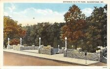 Hagerstown Maryland~Entrance to City Park~Lamp Posts on Stone Walls~1920s PC