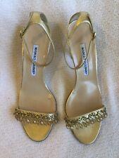 Gorgeous Manolo Blahnik Gold Beaded Dressy Sandal Size 37