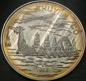 VIETNAM 100 Dong 1988 - Silver - Dragon Boat - aUNC - 2397 ¤