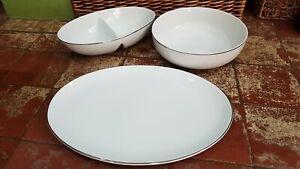 TESCO WHITE SILVER DINNER SERVING SET - DIVIDED VEG DISH ROUND BOWL OVAL PLATTER