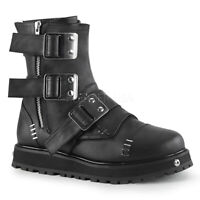 Demonia VALOR-150 Men's Black Platform Cyber Punk Combat Goth Ankle Boot Buckle
