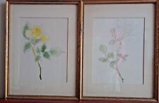 Pair 2 Vintage White & Yellow Rose Original Paintings 1950 Philadelphia Art Show