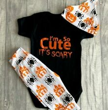 BABY HALLOWEEN SCARY OUTFIT Newborn Fancy Dress Costume Romper Pants Hat, Orange