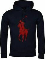 Polo Ralph Lauren Men's Sz M Double-Knit Big Pony Graphic Logo Hoodie Navy/Red