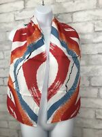 "New! Avon Scarf, Red Blue Brushstroke Abstract Print, 52"" X 9"", Polyester, Japan"