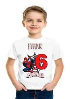 Boys Personalise Spider-Man Birthday t-shirt Any Name Christmas Gift