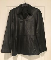 JLC NEW YORK Outerwear Womens Real Leather Black Coat Jacket, SO SOFT Full Zip S