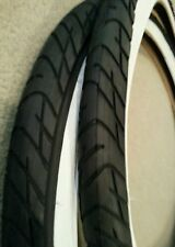 PAIR OF DURO BEACH CRUISER BICYCLE TIRES,26X2.125,STREET SLICK TREAD WHITEWALLS