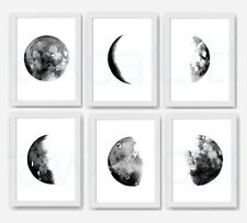 Moon Phases Lunar Set Of 6 Watercolour Painting PRINT 8x10 Wall Art B2G1F