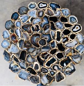 "30"" Black Agate Table Top Natural stones pietradura Handmade Work Decor"