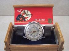 Vintage Helbros Venus 150 Pilot Chronograph Men's Watch w/Wooden Helbros Case