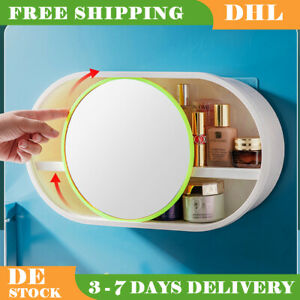 2PCS Bathroom Mini Storage Cabinets Wall Mounted With Scrollable Mirror 2 Layers