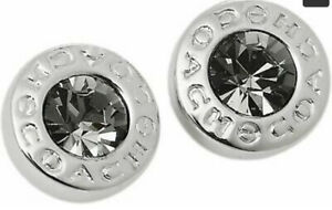 New COACH F54516 Open Circle Stone Stud Earrings Silver