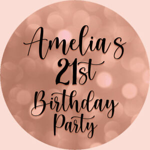 24 Personalised Stickers For Party/Sweet Cone Bags Rose Gold & Black 21st B/day