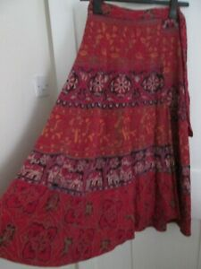 Vintage Indian Cotton Red Wrap Maxi Skirt S