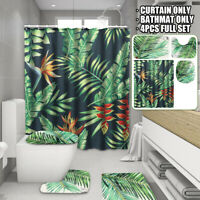 4Pcs Green Leaves Shower Curtain Bathroom Pad Carpet Rug Toilet Cover Bath