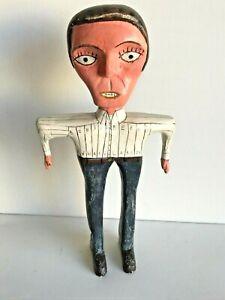 FOLK ART Wood Carving MAN Bob Joe Berry CREATED by EDWARD LARSON 1982 Vintage