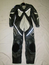 RICHA LADIES ONE PIECE SILVER / BLACK / WHITE LEATHER MOTORCYCLE SUIT - UK 10