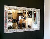 Crackle Design Wall Mirror Modern Silver Frame Mosaic Glass 90X60cm New