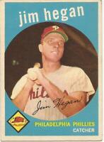 1959 Topps # 372 - JIM HEGAN - PHILADELPHIA PHILLIES - EX - FREE SHIPPING