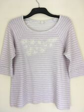 Ladies 3/4 Sleeve Embroidered Lilac And White Stripe Top Size 16 From BHS