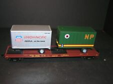 MTH 20-98107, 1:48 O Scale Union Pacific Brown Flat Car with Two 20' Trailers