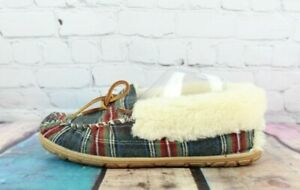 LL BEAN Womens Gray Plaid Wicked Good Shearling Lined Moccasin Slippers Sz 9 M