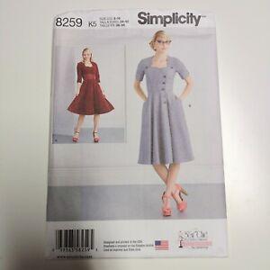 Simplicity 8259 Ladies Retro Dress  Pattern NEW Uncut Sz 8 - 16 Sew Chic