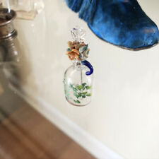 New listing 1800 French Antique Victorian Perfume Flower Floral Glass Overlay Hp Bottle Vtg