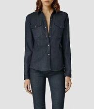 "***ALLSAINTS ""INES"" WOMAN'S DENIM SHIRT Sz ""2""(US)/ ""6""(UK) w TAGS - Orig $195!!"