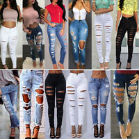 Women Ripped Distressed Denim Pants Jeans Stretch High Waisted Jeggings Trousers
