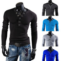 Hombre Corte Slim Camisa de manga larga Sólido camiseta casual Botton HENLEY Top