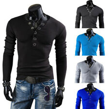 Mens V Neck Henley Shirt Tops Slim Fit Casual Long Sleeve Button Tee Shirt Tops