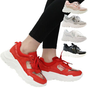 Ladies Running Trainers Women Lace Up Sneaker Chunky Perspex Platform Shoes Size
