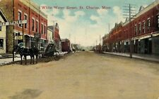 St.Charles,Minnesota,Whit e Water Street,Horse Drawn Wagon,Winona Co.Used,1915
