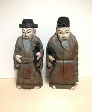 Pair of Vintage Chinese Hand Carved Wooden Statues/ Sculptures of Old Men
