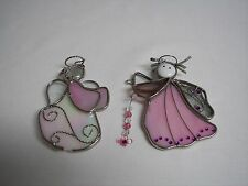 Angel Pair Stained Glass Angel Figurines Pink & White one w/Curly Hair