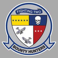 GRUMMAN TOMCAT F14 BLASON VF 2 BOUNTY HUNTERS SQUADRON 10cm AVION STICKER AV106