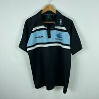 Cronulla Sharks NRL Mens Polo Shirt XL Extra Large Black Blue Short Sleeve