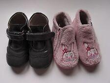 Lote calzado niña número 23: Zapatos de piel y zapatillas para casa,