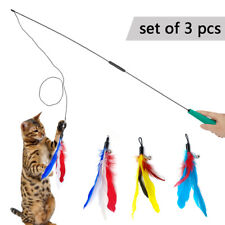 3pcs/lot Funny Kitten/Cat Teaser Wand Rod Bird Feather Wire Chaser Pet Toys Play