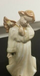 Boy Angel.Pointing to Dove on his Shoulder, Talking Bird Ceramic Standing Figure