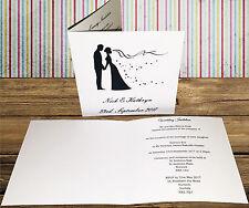 Personalizzato FATTO A MANO MATRIMONIO INVITO invitare x10 elegante sposa sposo CARD wi8
