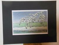 "Matted Print Kawase Hasui Japan Snows at Hinuma Swamp  8 x 10"" Sealed Black Mat"