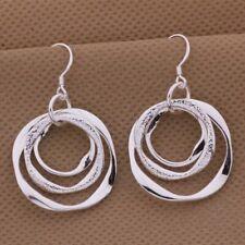 Womens 925 Sterling Silver 3 Circle Dangle Drop Hoop Earrings  E42