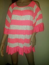 Womens Neon Pink Bell Sleeve Open Cold Shoulder Top Blouse, Small