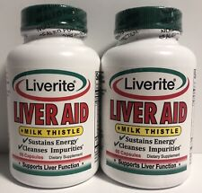 2 Liverite LIVER AID + Milk Thistle 60 Caps Ea Cleanses Impurities Energy 4/21+